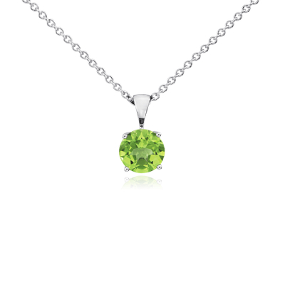 Peridot Solitaire Pendant in 18k White Gold