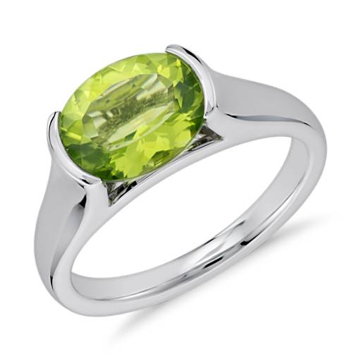 Peridot Oval Ring in Sterling Silver