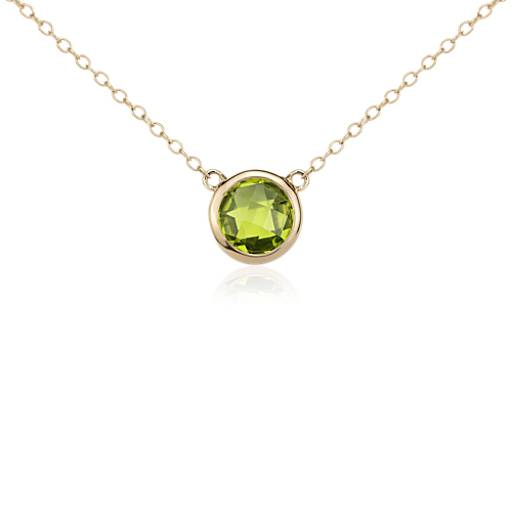 Peridot Solitaire Necklace in 14k Yellow Gold