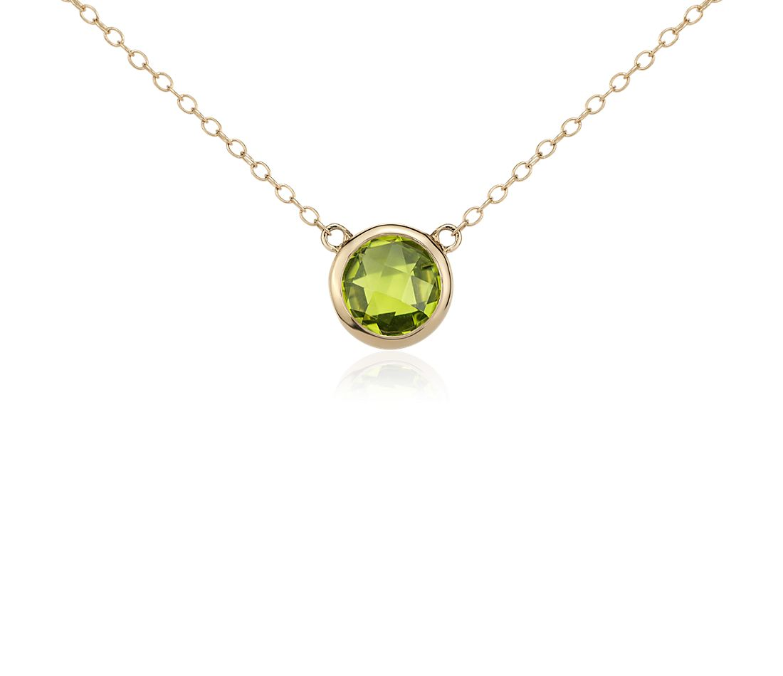 Peridot Solitaire Necklace in 14k Yellow Gold (8mm)