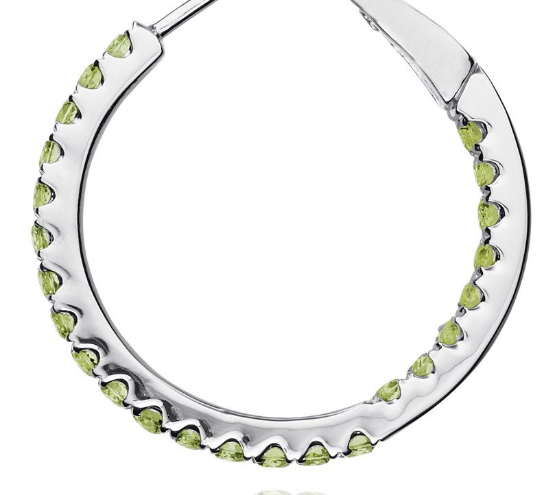 Peridot Hoop Earrings in Sterling Silver