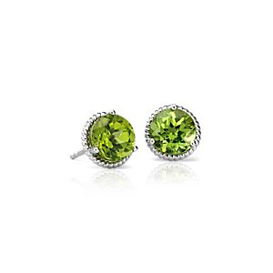 Peridot Rope Stud Earrings in Sterling Silver (7mm)