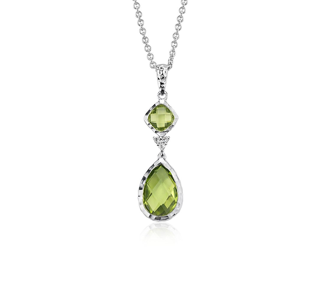 Peridot and White Topaz Dangle Pendant in Sterling Silver (12x8mm)