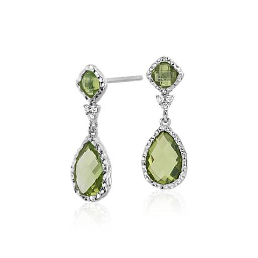Peridot and White Topaz Dangle Earrings in Sterling Silver (9x6mm)