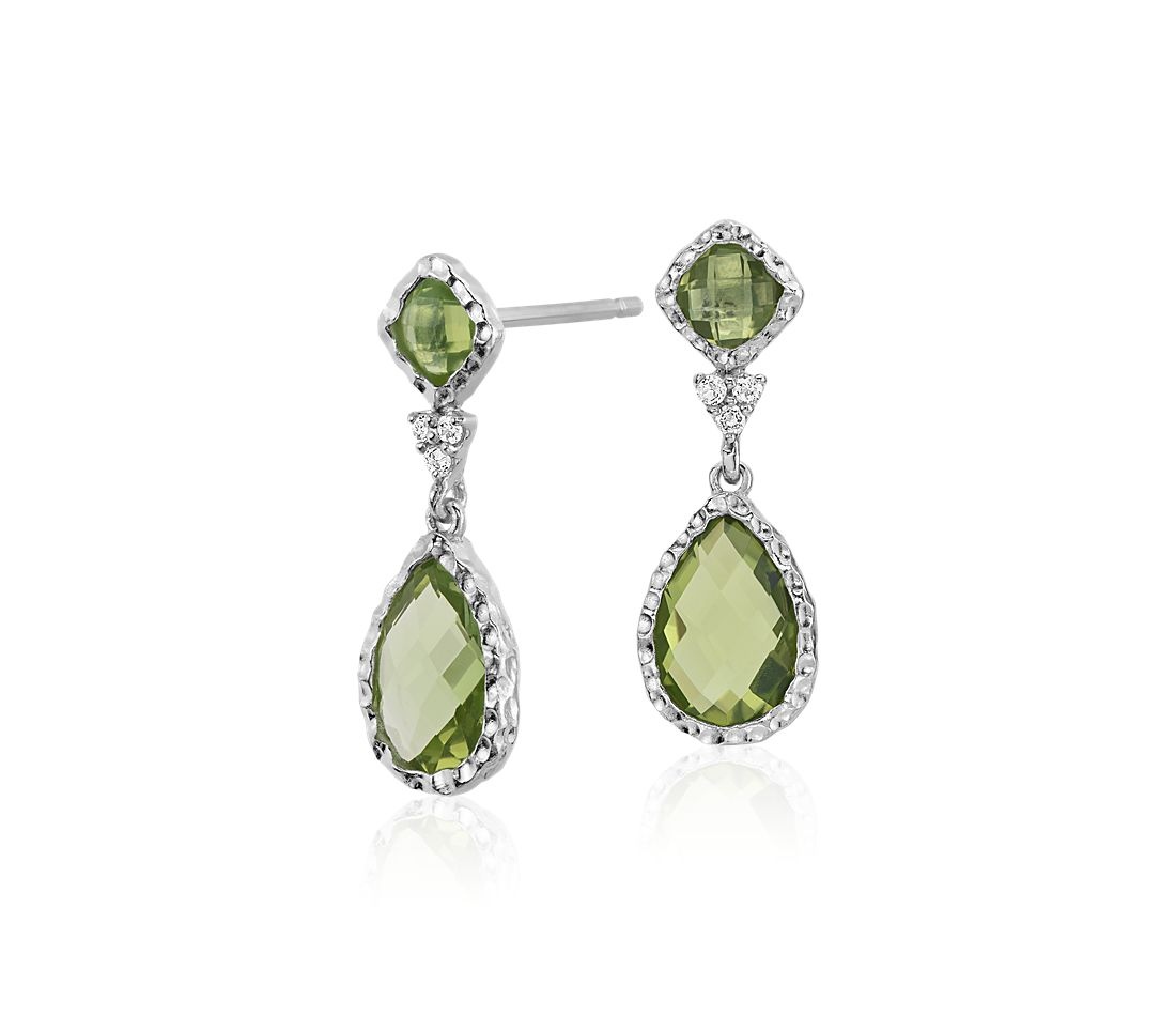 Peridot and White Topaz Dangle Earrings in Sterling Silver
