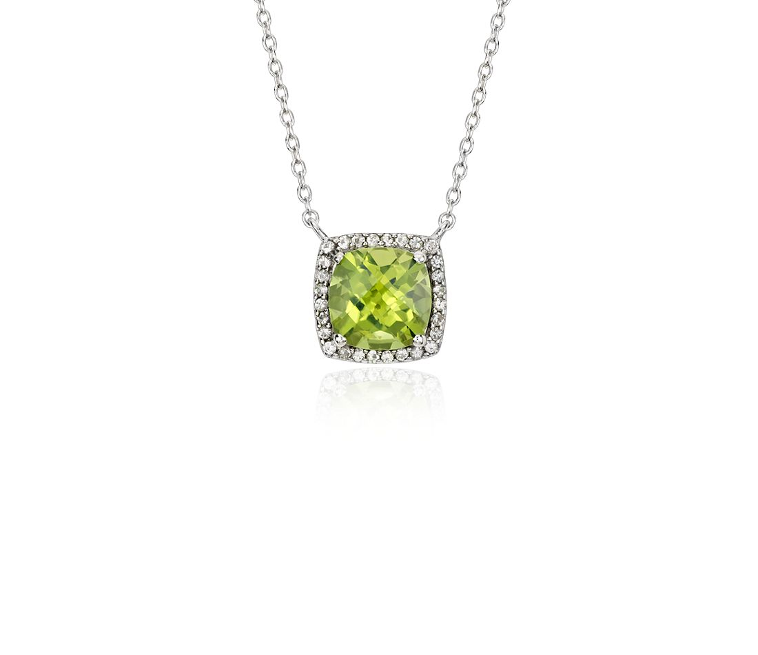 Peridot and White Topaz Halo Necklace in Sterling Silver