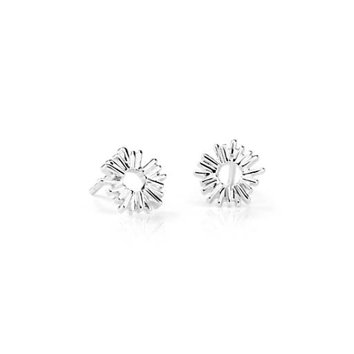 Petite Abstract Sun Stud Earrings in Sterling Silver