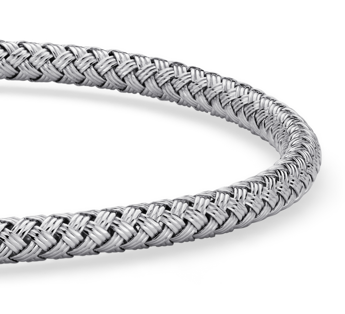 Petite Basketweave Bangle in Sterling Silver