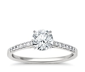 Petite Cathedral Pave Diamond Engagement Ring in Platinum (1/6 ct. tw.)
