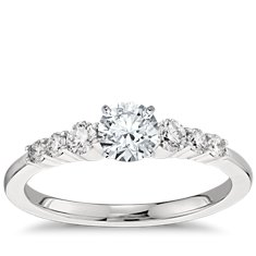 Petite Diamond Engagement Ring in Platinum