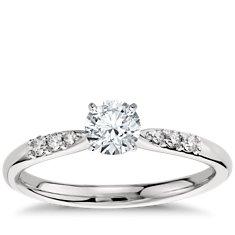 Petite Diamond Engagement Ring in Platinum