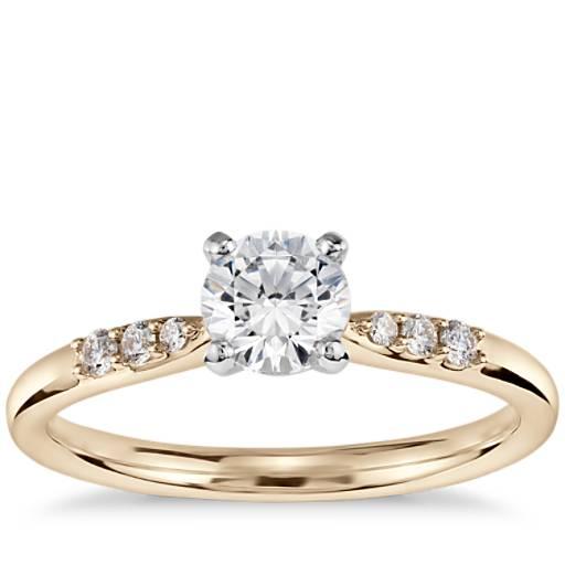 1/2 Carat Preset Petite Diamond Engagement Ring in 14k Yellow Gold