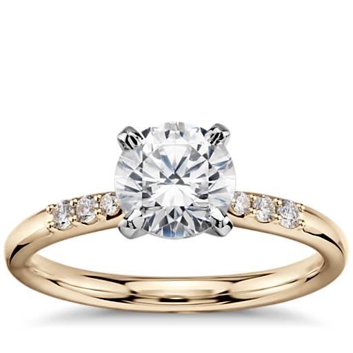 1 Carat Preset Petite Diamond Engagement Ring in 14k Yellow Gold