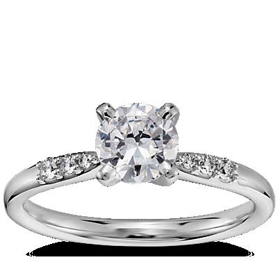 3/4 克拉14k 白金预镶嵌小巧钻石订婚戒指