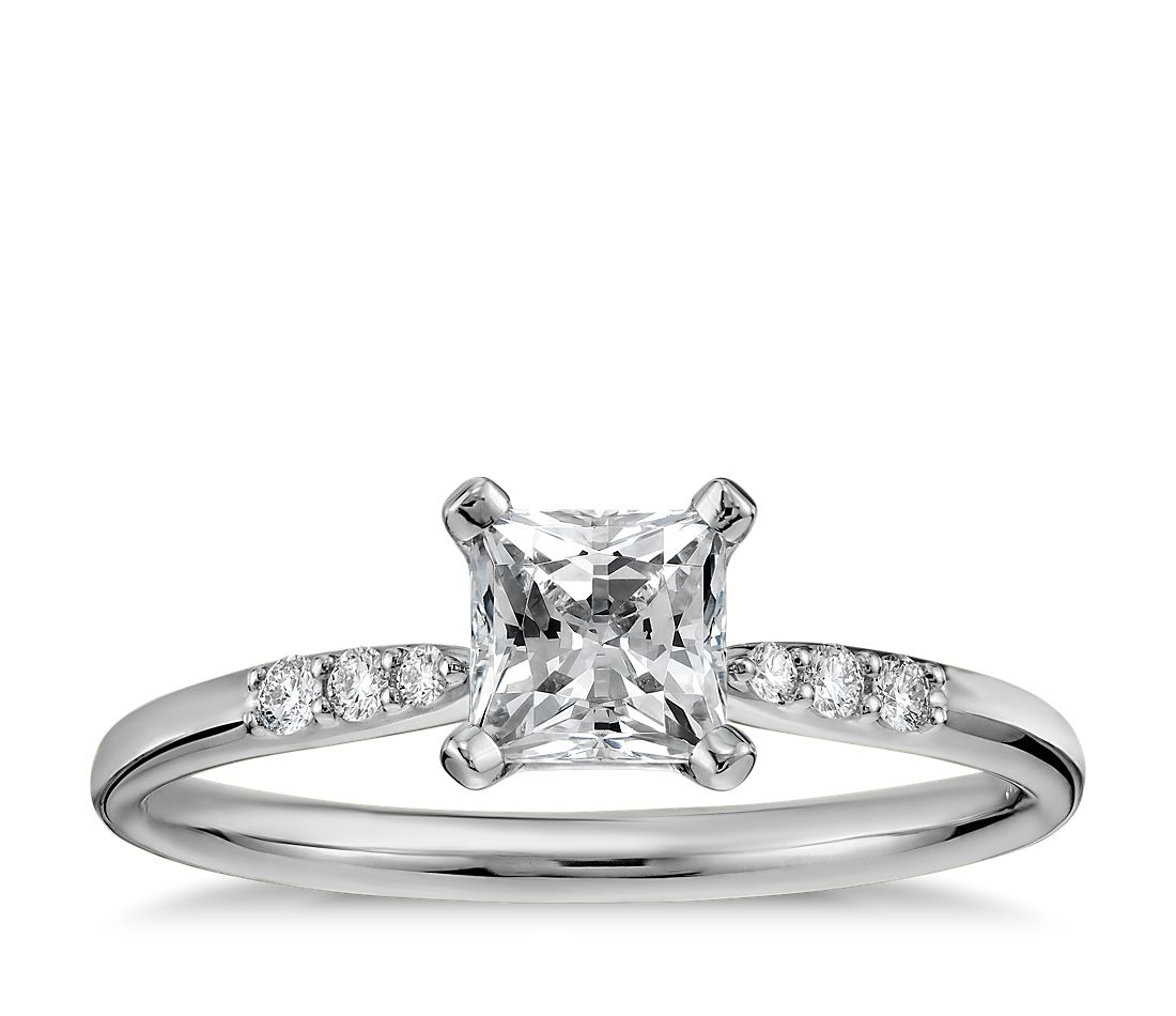 1 2 Carat Preset Princess Cut Petite Diamond Engagement Ring in 14k White Gol