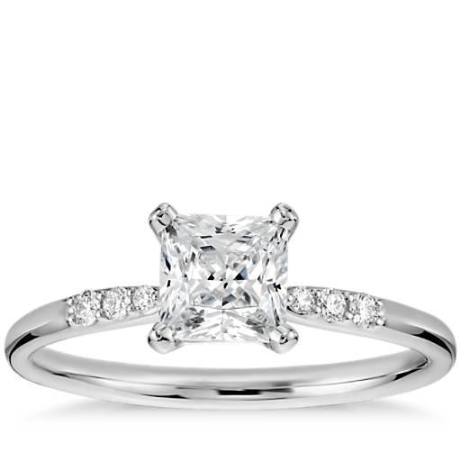 3/4 克拉14k 白金预镶嵌公主方形切割小巧钻石订婚戒指