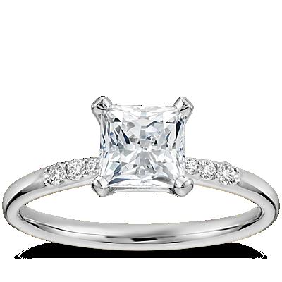 1 克拉14k 白金预镶嵌公主方形切割小巧钻石订婚戒指