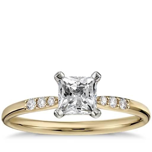 NEW 1/2 Carat Preset Princess-Cut Petite Diamond Engagement Ring in 14k Yellow Gold