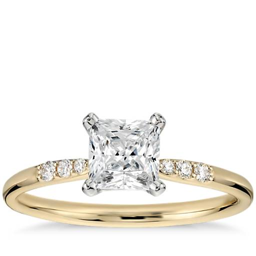 3/4 Carat Preset Princess-Cut Petite Diamond Engagement Ring in 14k Yellow Gold