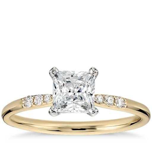 NEW 3/4 Carat Preset Princess-Cut Petite Diamond Engagement Ring in 14k Yellow Gold