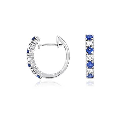 Petite Diamond and Sapphire Earrings in 18k White Gold