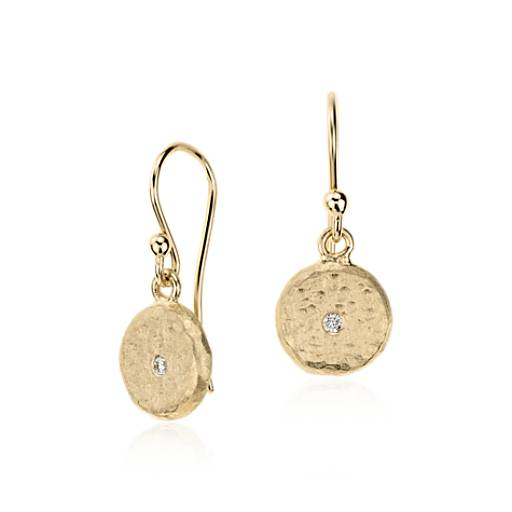 Petite Drop Earrings in Satin 14k Yellow Gold