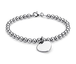Petite Heart Bead Bracelet in Sterling Silver