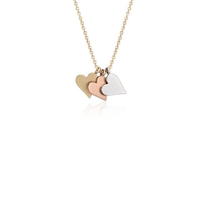 Petite Heart Pendant in 14k Tri-Color Gold