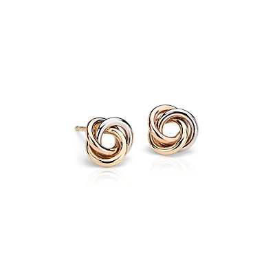Petite Love Knot Earrings in 14k Tri-Colour Gold