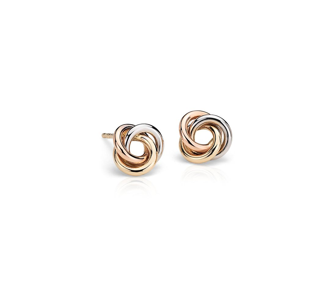 Petite Love Knot Earrings in Tri-Color 14k Gold