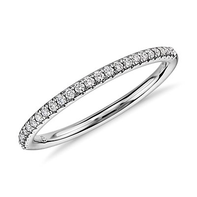 Petite Micropavé Diamond Ring in 14k White Gold