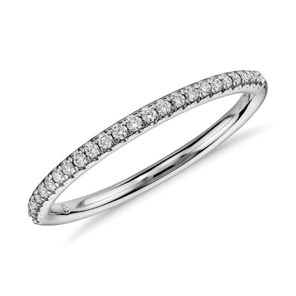 Petite bague de fiançailles diamant serti micro-pavé en platine (1/10carat, poids total)