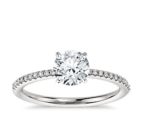 Petite Micropavé Diamond Engagement Ring in Platinum (1/10 ct. tw.)