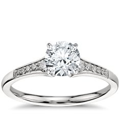 Petite Milgrain Diamond Engagement Ring in Platinum (.10 ct. tw.)
