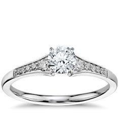Graduated Milgrain Diamond Engagement Ring in 14k White Gold (.10 ct. tw.)