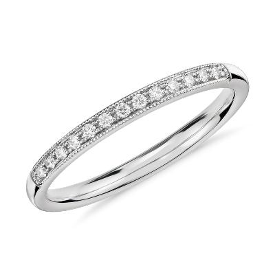 Petite bague diamant mille-grains en or blanc 14carats