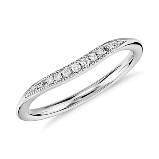 NEW Petite Milgrain Diamond Ring in 14k White Gold