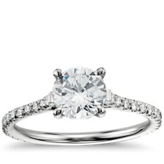 Petite Pavé Cathedral Diamond Engagement Ring in 14k White Gold (1/2 ct. tw.)