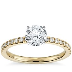 Petite Pave Diamond Engagement Ring in 18k Yellow Gold (1/4 ct. tw.)
