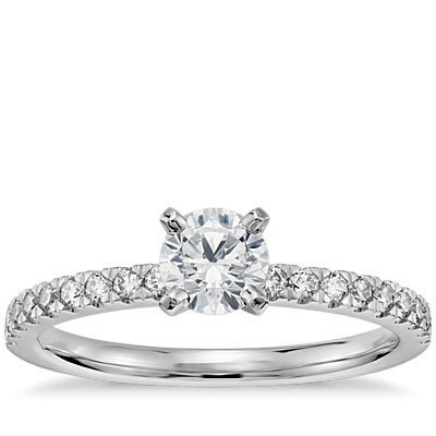 1/2 克拉14k 白金预镶嵌小巧密钉钻石订婚戒指