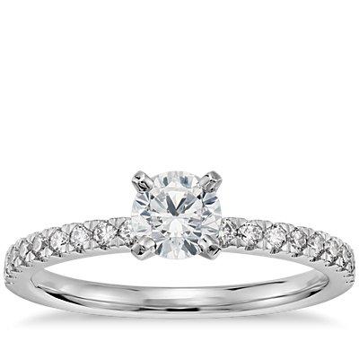1/2 Carat Preset Petite Pavé Diamond Engagement Ring in 14k White Gold