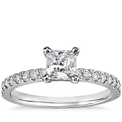 1/2 克拉14k 白金预镶嵌公主方形切割小巧密钉钻石订婚戒指