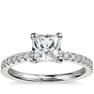 1 克拉14k 白金预镶嵌公主方形切割小巧密钉钻石订婚戒指
