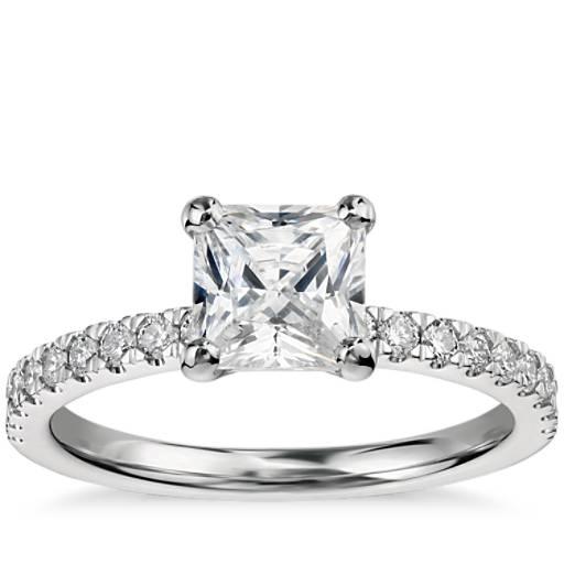 NEW 1 Carat Preset Princess-Cut Petite Pavé Diamond Engagement Ring in 14k White Gold