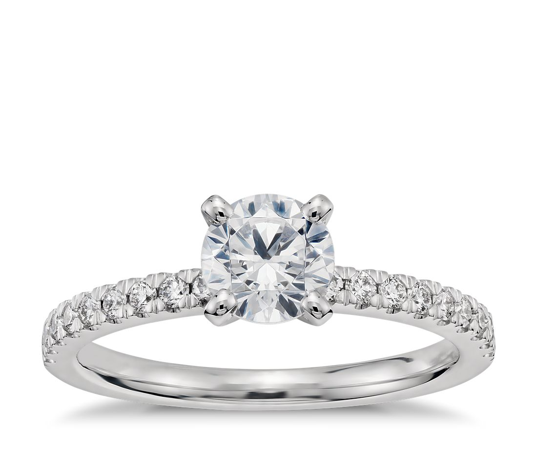 3 4 Carat Preset Petite Pavé Diamond Engagement Ring in 14k White Gold