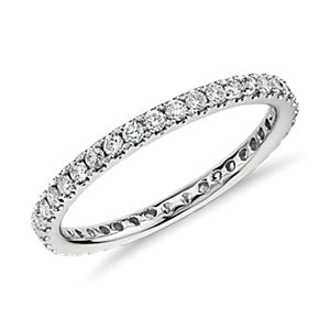 Petite Pavé Diamond Eternity Ring in 14k White Gold