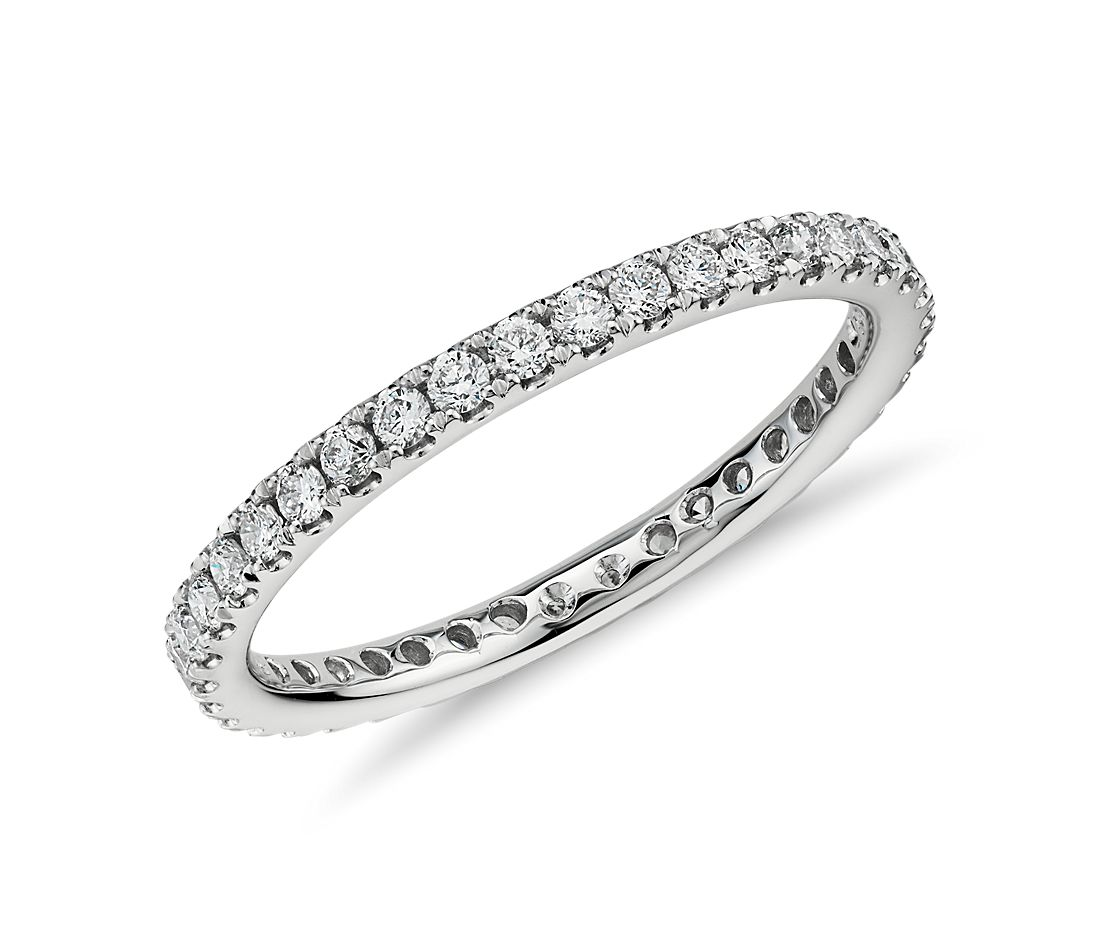 Petite Pavé Diamond Eternity Ring in 14k White Gold (1/2 ct. tw.)