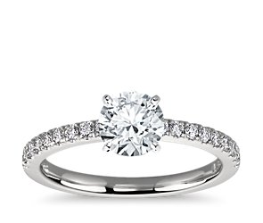 Petite Pave Diamond Engagement Ring in Platinum (1/4 ct. tw.)