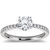 Bague de fiançailles en diamants sertis pavé de petite taille en platine (1/4carat, poids total)