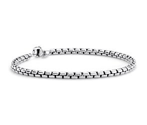Petite Round Box Bracelet in Sterling Silver